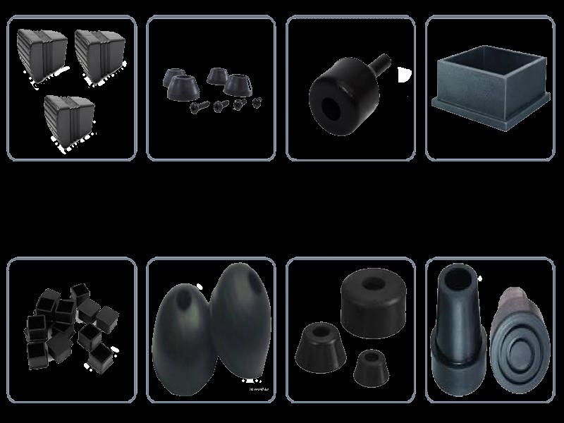 suporte de borracha em vários formatos